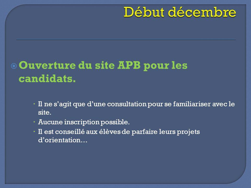  Ouverture du site APB pour les candidats.