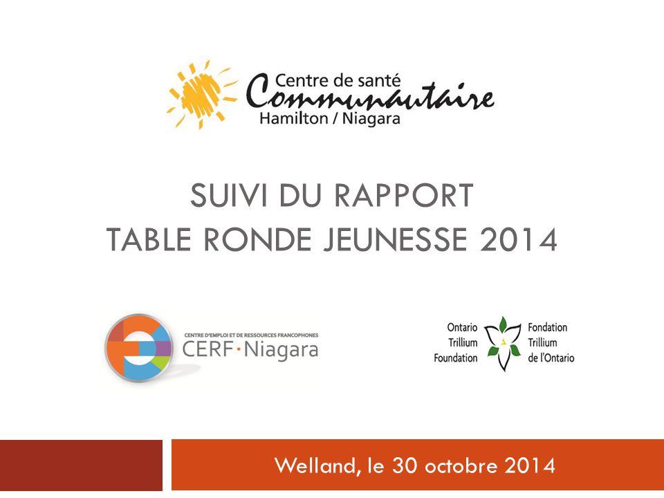 SUIVI DU RAPPORT TABLE RONDE JEUNESSE 2014 Welland, le 30 octobre 2014