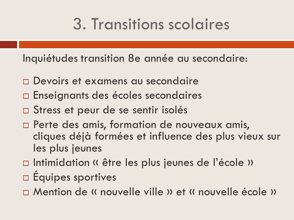 3. Transitions scolaires Inquiétudes transition 8e année au secondaire:  Devoirs et examens au secondaire  Enseignants des écoles secondaires  Stre