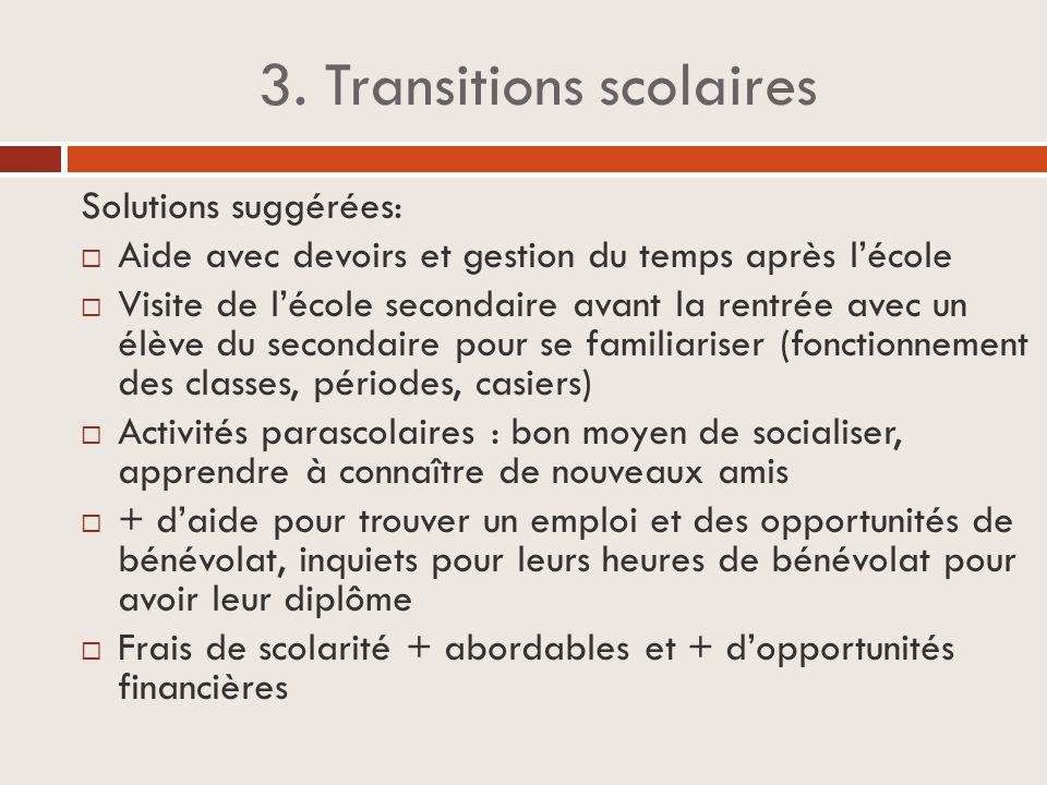 3. Transitions scolaires Solutions suggérées:  Aide avec devoirs et gestion du temps après l'école  Visite de l'école secondaire avant la rentrée av