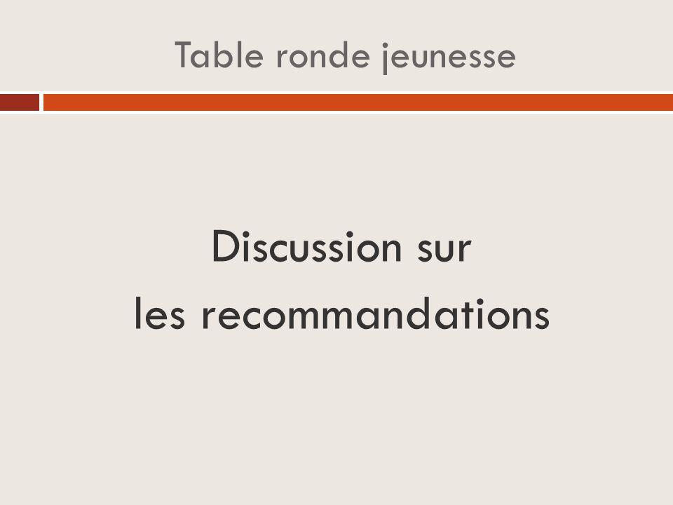 Table ronde jeunesse Discussion sur les recommandations