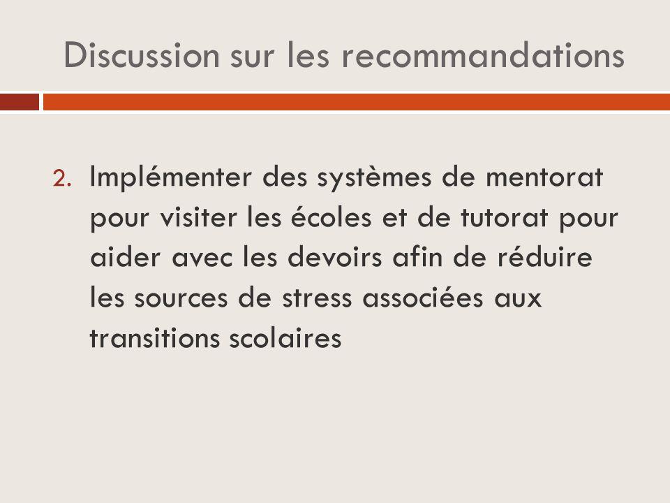 Discussion sur les recommandations 2.