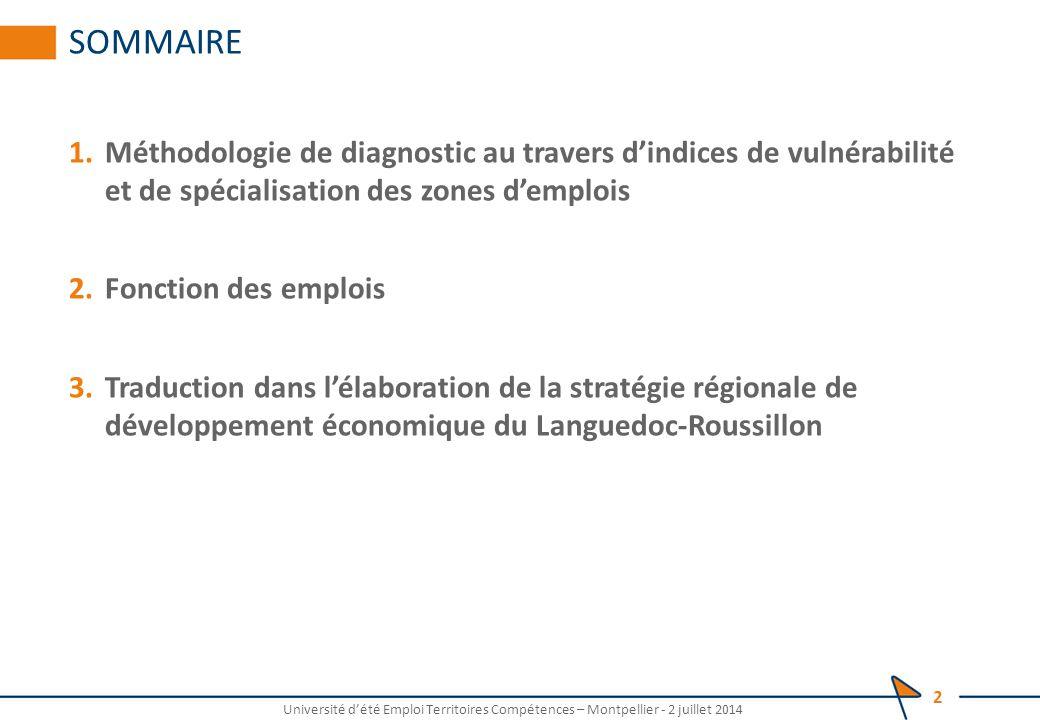 SOMMAIRE 1.Méthodologie de diagnostic au travers d'indices de vulnérabilité et de spécialisation des zones d'emplois 2.Fonction des emplois 3.Traduction dans l'élaboration de la stratégie régionale de développement économique du Languedoc-Roussillon Université d'été Emploi Territoires Compétences – Montpellier - 2 juillet 2014 2
