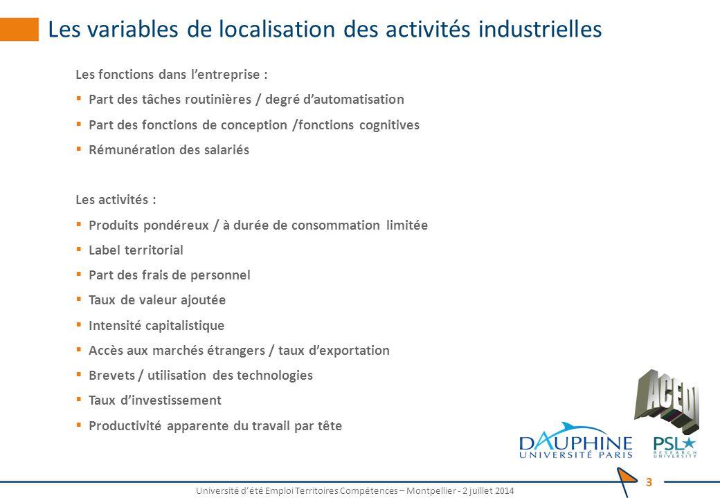 Les variables de localisation des activités industrielles Les fonctions dans l'entreprise :  Part des tâches routinières / degré d'automatisation  P