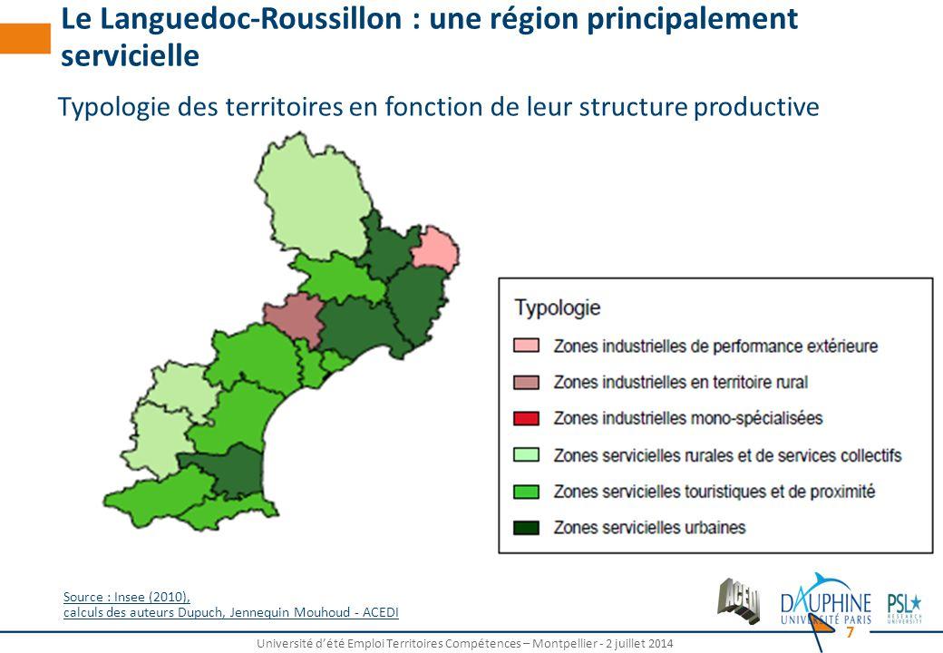 Université d'été Emploi Territoires Compétences – Montpellier - 2 juillet 2014 7 Typologie des territoires en fonction de leur structure productive Le Languedoc-Roussillon : une région principalement servicielle Source : Insee (2010), calculs des auteurs Dupuch, Jennequin Mouhoud - ACEDI