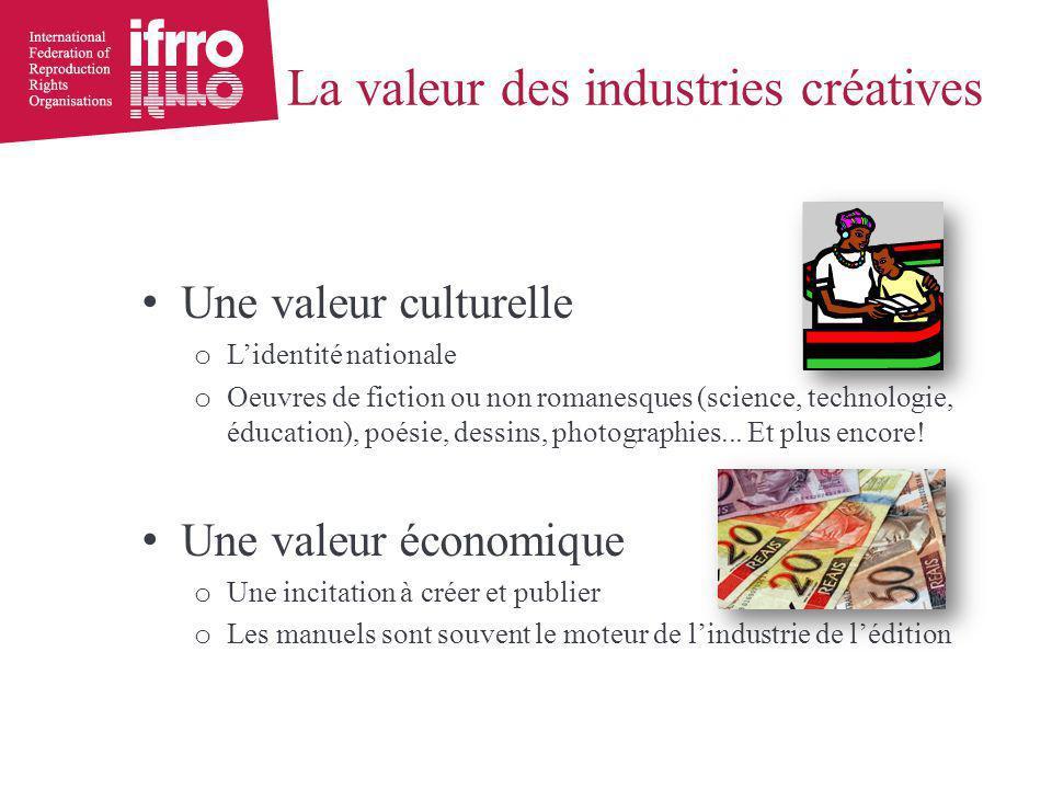 La valeur des industries créatives Une valeur culturelle o L'identité nationale o Oeuvres de fiction ou non romanesques (science, technologie, éducation), poésie, dessins, photographies...