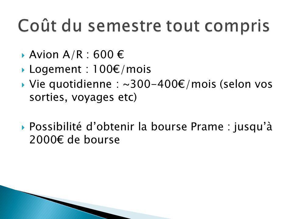  Avion A/R : 600 €  Logement : 100€/mois  Vie quotidienne : ~300-400€/mois (selon vos sorties, voyages etc)  Possibilité d'obtenir la bourse Prame : jusqu'à 2000€ de bourse