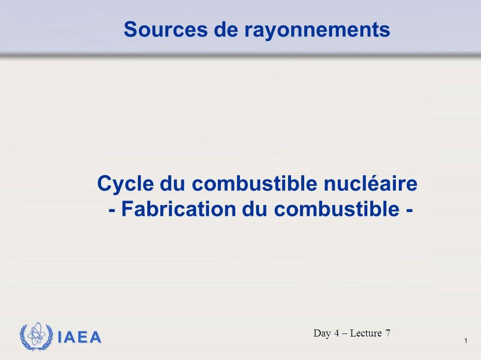IAEA Sources de rayonnements Cycle du combustible nucléaire - Fabrication du combustible - Day 4 – Lecture 7 1