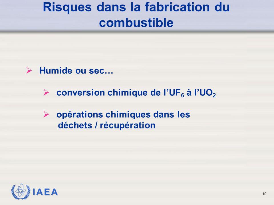 IAEA Risques dans la fabrication du combustible  Humide ou sec…  conversion chimique de l'UF 6 à l'UO 2  opérations chimiques dans les déchets / ré