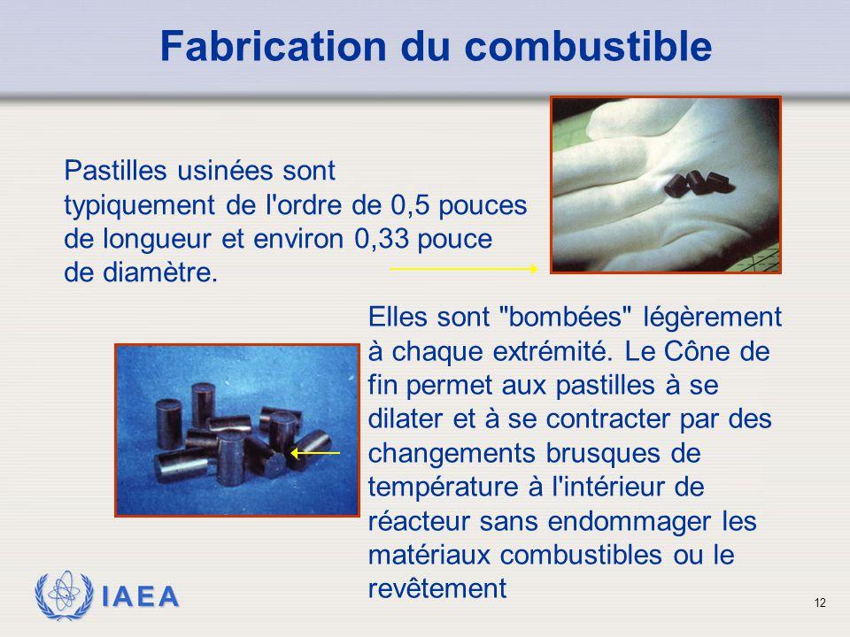 IAEA Pastilles usinées sont typiquement de l'ordre de 0,5 pouces de longueur et environ 0,33 pouce de diamètre. Fabrication du combustible 12 Elles so