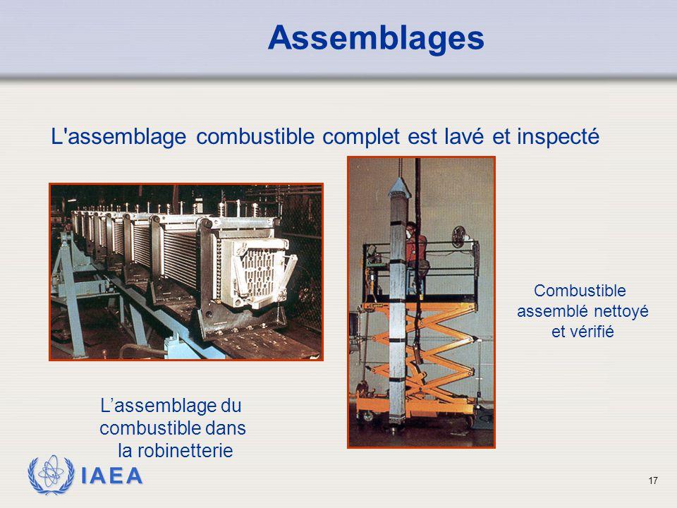 IAEA L'assemblage combustible complet est lavé et inspecté L'assemblage du combustible dans la robinetterie Combustible assemblé nettoyé et vérifié As
