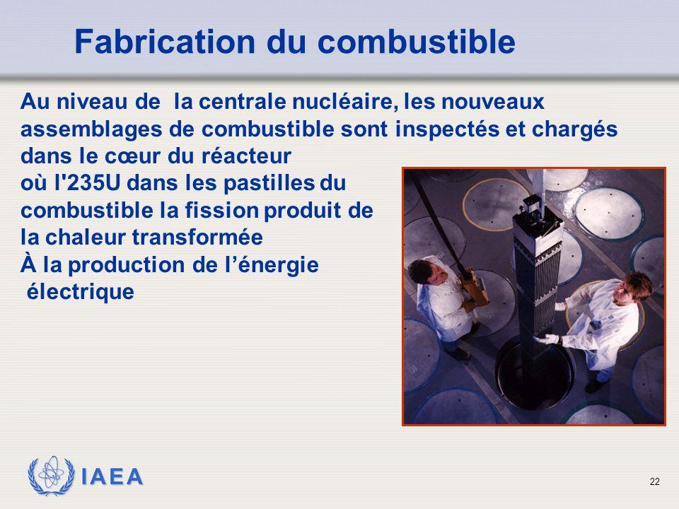IAEA Au niveau de la centrale nucléaire, les nouveaux assemblages de combustible sont inspectés et chargés dans le cœur du réacteur où l'235U dans les