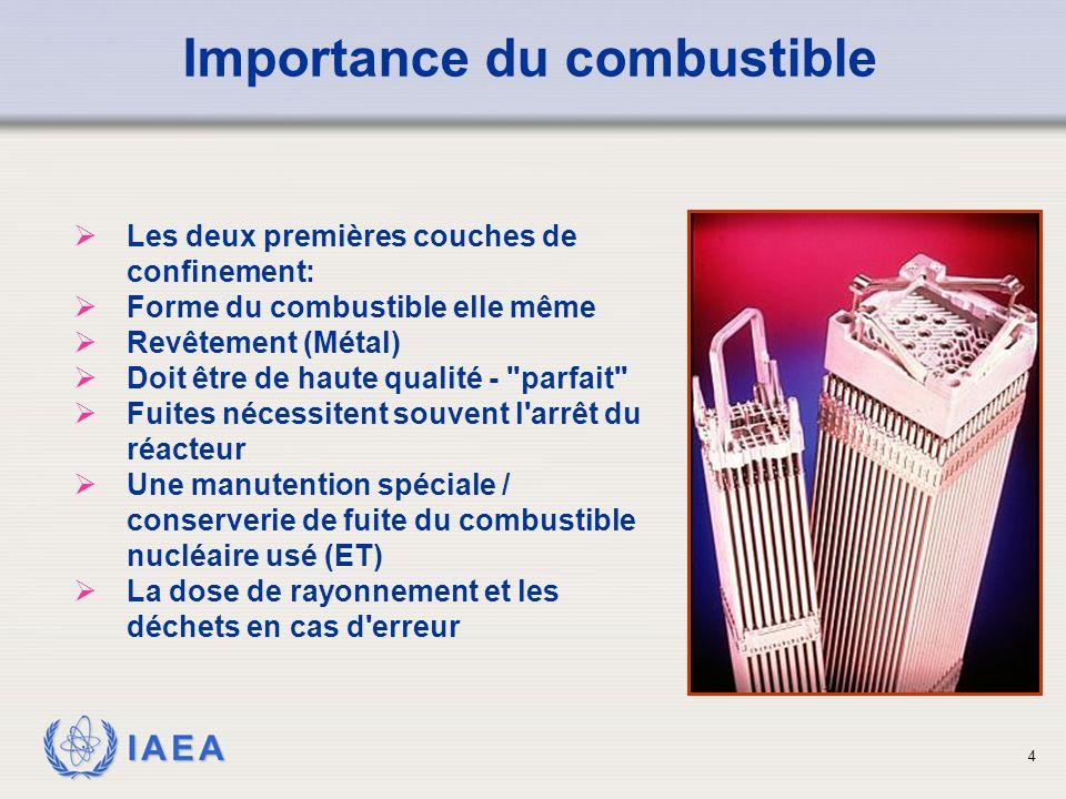 IAEA Importance du combustible  Les deux premières couches de confinement:  Forme du combustible elle même  Revêtement (Métal)  Doit être de haute