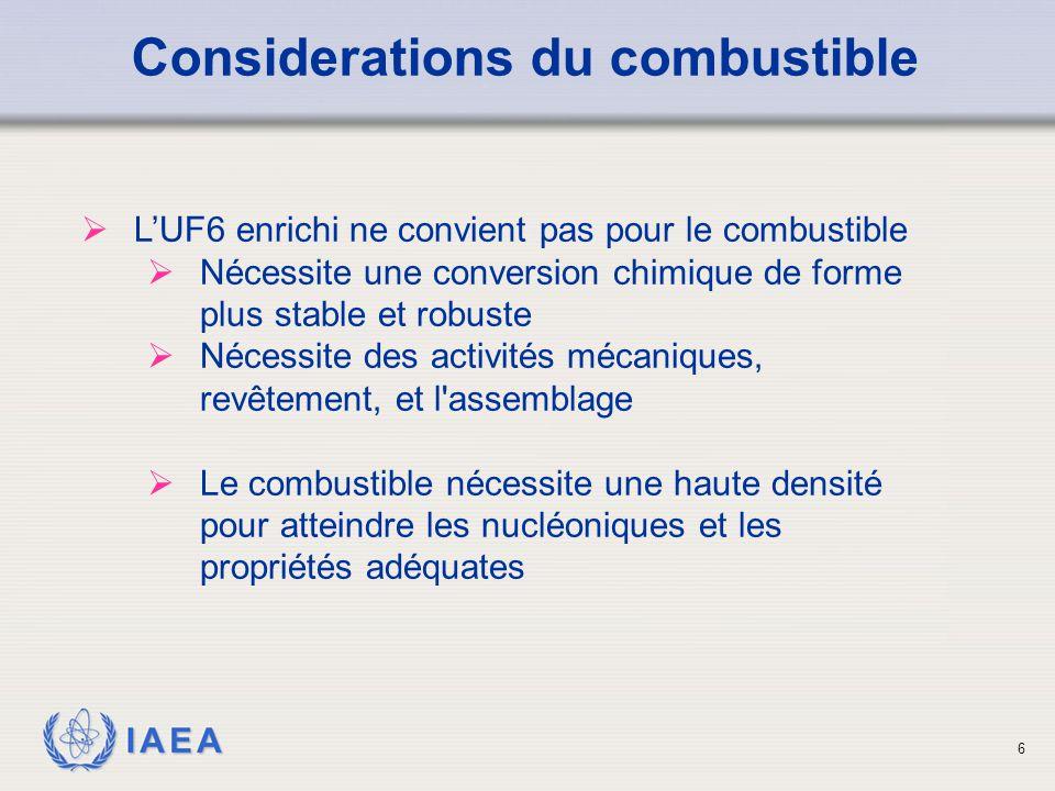 IAEA Considerations du combustible  L'UF6 enrichi ne convient pas pour le combustible  Nécessite une conversion chimique de forme plus stable et rob