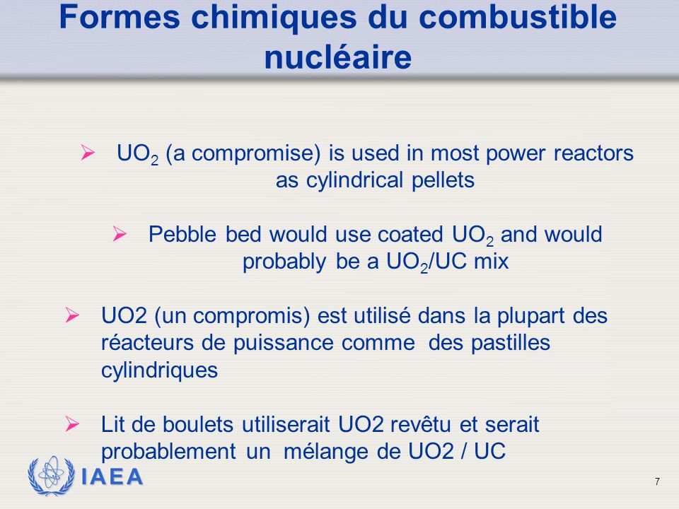 IAEA Formes chimiques du combustible nucléaire  UO 2 (a compromise) is used in most power reactors as cylindrical pellets  Pebble bed would use coat