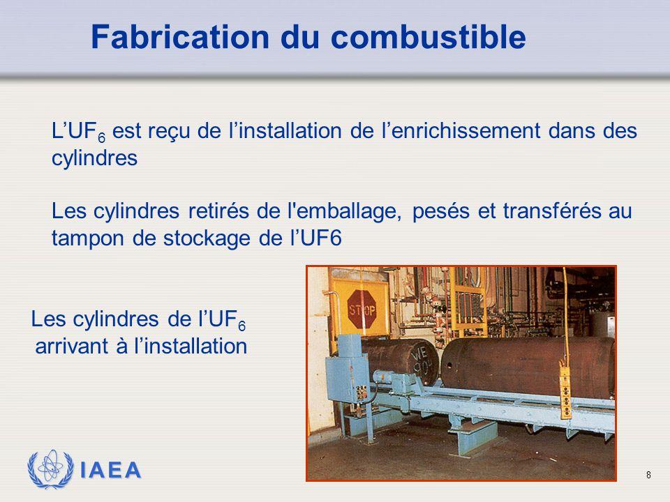 IAEA L'UF 6 est reçu de l'installation de l'enrichissement dans des cylindres Les cylindres retirés de l'emballage, pesés et transférés au tampon de s