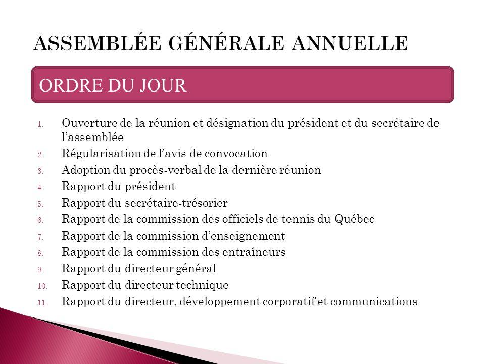 ORDRE DU JOUR 1. Ouverture de la réunion et désignation du président et du secrétaire de l'assemblée 2. Régularisation de l'avis de convocation 3. Ado