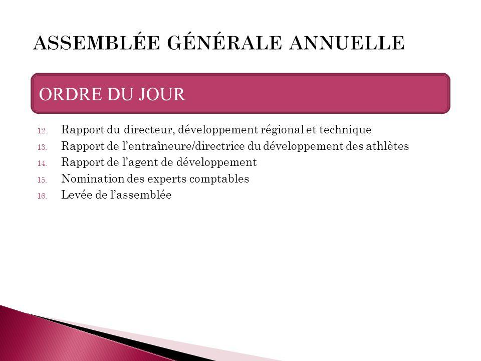 12. Rapport du directeur, développement régional et technique 13. Rapport de l'entraîneure/directrice du développement des athlètes 14. Rapport de l'a