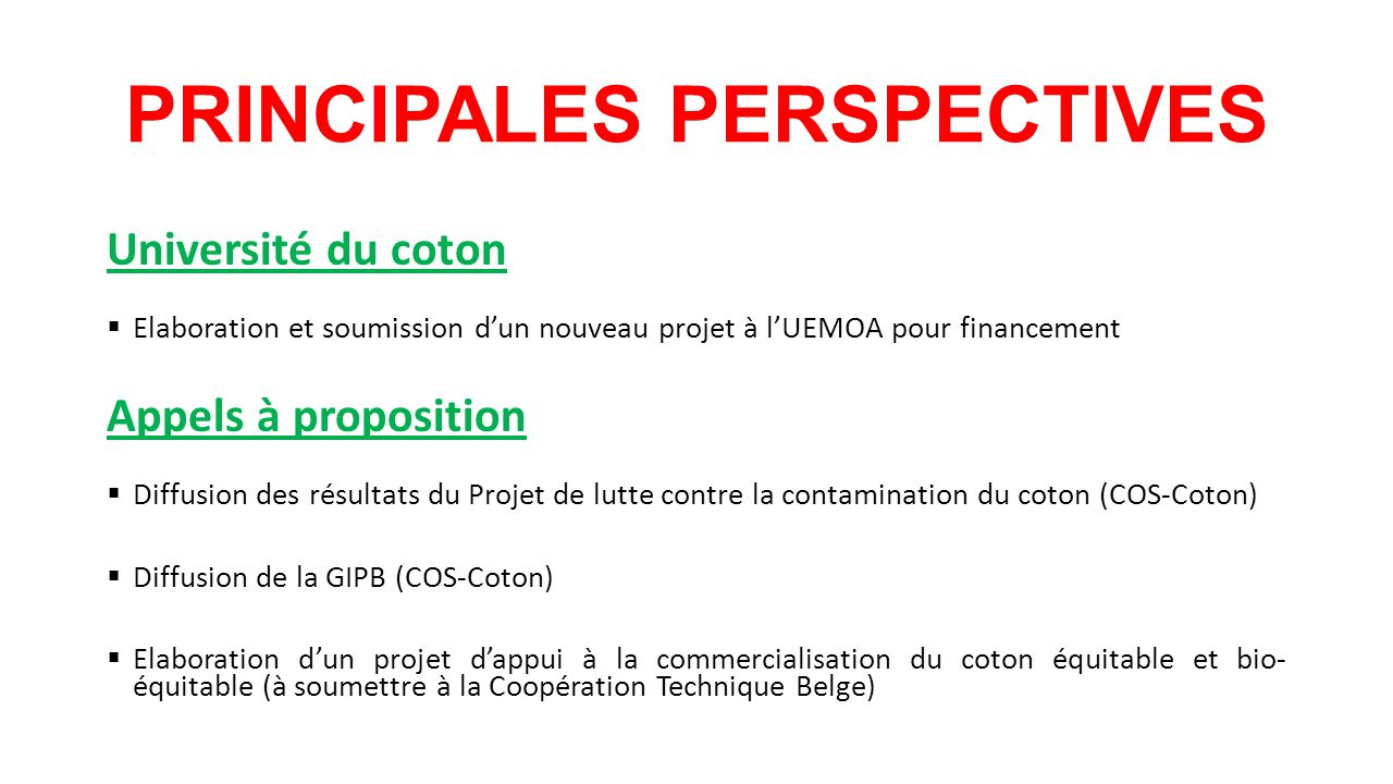 PRINCIPALES PERSPECTIVES Université du coton  Elaboration et soumission d'un nouveau projet à l'UEMOA pour financement Appels à proposition  Diffusion des résultats du Projet de lutte contre la contamination du coton (COS-Coton)  Diffusion de la GIPB (COS-Coton)  Elaboration d'un projet d'appui à la commercialisation du coton équitable et bio- équitable (à soumettre à la Coopération Technique Belge)