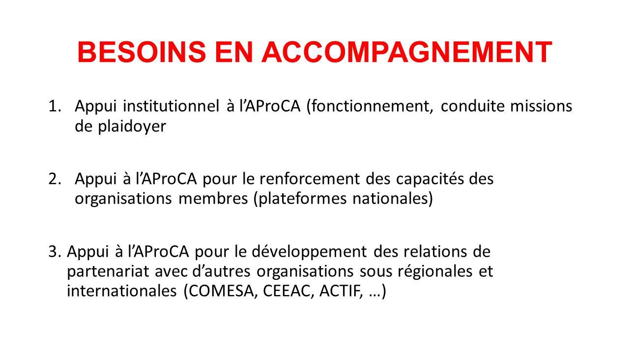 BESOINS EN ACCOMPAGNEMENT 1.Appui institutionnel à l'AProCA (fonctionnement, conduite missions de plaidoyer 2.Appui à l'AProCA pour le renforcement des capacités des organisations membres (plateformes nationales) 3.