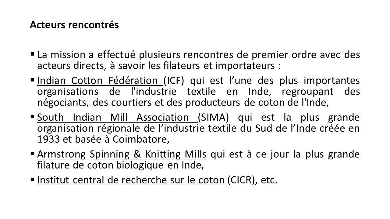 Message délivré par l'AProCA Les producteurs de coton ont exposé au cours de toutes les rencontres effectuées les efforts des pays africains, notamment les producteurs, pour une amélioration constante de la qualité du coton africain (charte de la qualité du coton élaborée par l'AProCA et l'ACA, les appuis des partenaires tel l'UEMOA, l'AFD, etc.).