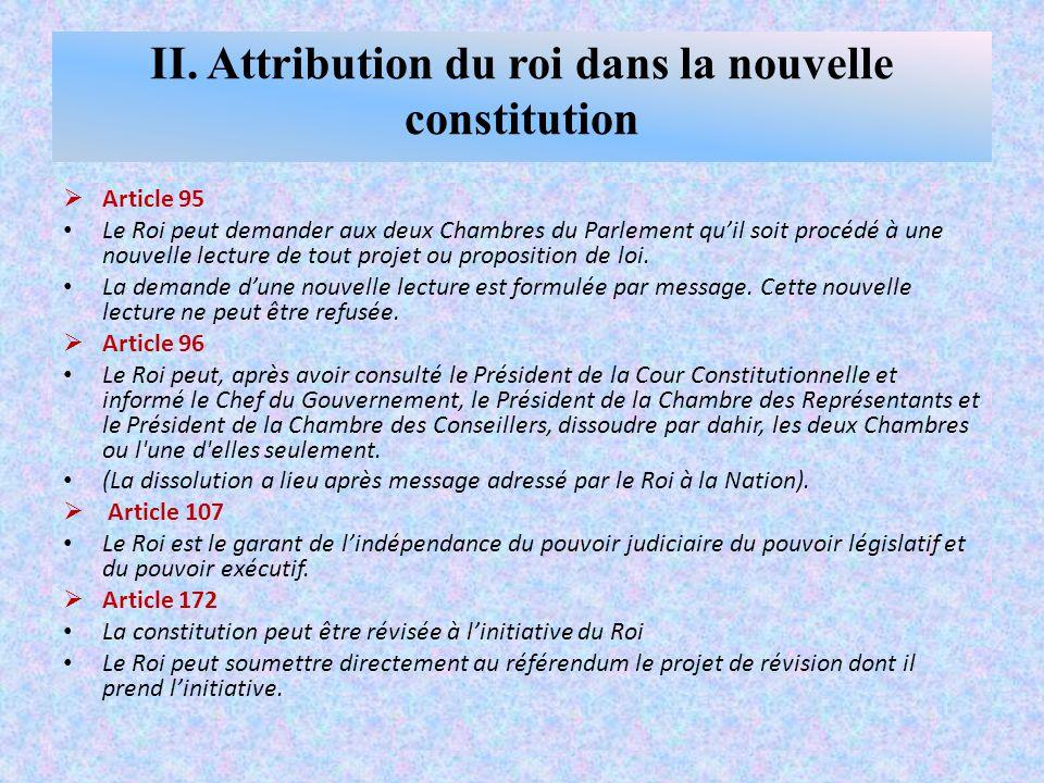  Article 95 Le Roi peut demander aux deux Chambres du Parlement qu'il soit procédé à une nouvelle lecture de tout projet ou proposition de loi.