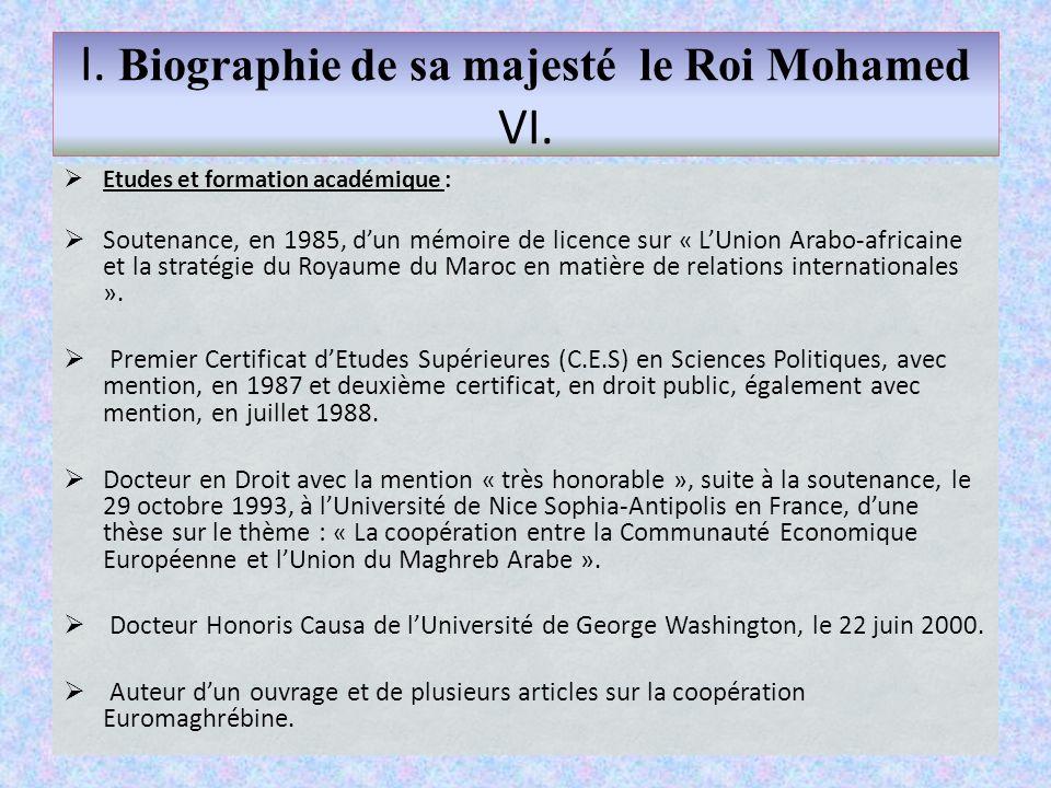  Etudes et formation académique :  Soutenance, en 1985, d'un mémoire de licence sur « L'Union Arabo-africaine et la stratégie du Royaume du Maroc en matière de relations internationales ».