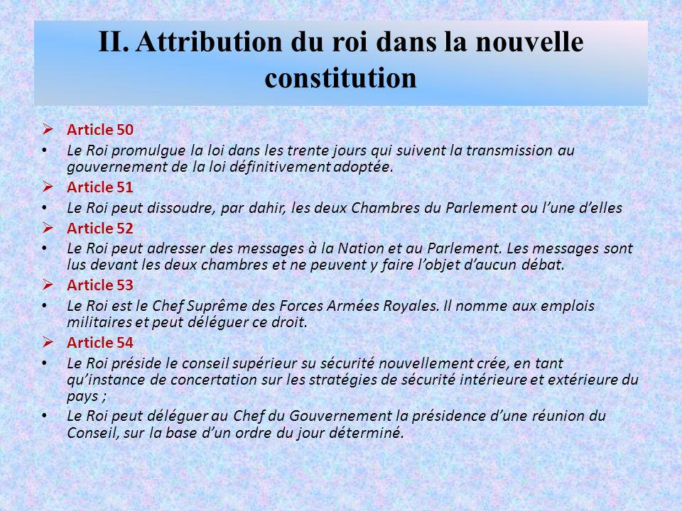 Article 50 Le Roi promulgue la loi dans les trente jours qui suivent la transmission au gouvernement de la loi définitivement adoptée.