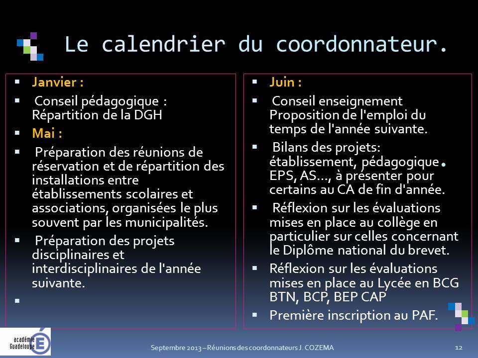 Le calendrier du coordonnateur..