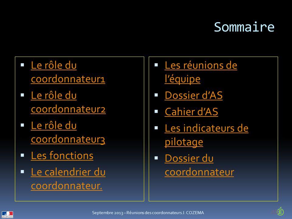 Sommaire  Le rôle du coordonnateur1 Le rôle du coordonnateur1  Le rôle du coordonnateur2 Le rôle du coordonnateur2  Le rôle du coordonnateur3 Le rôle du coordonnateur3  Les fonctions Les fonctions  Le calendrier du coordonnateur.