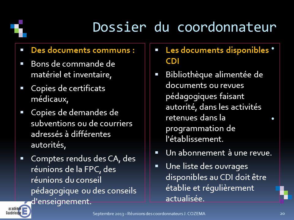 Dossier du coordonnateur.