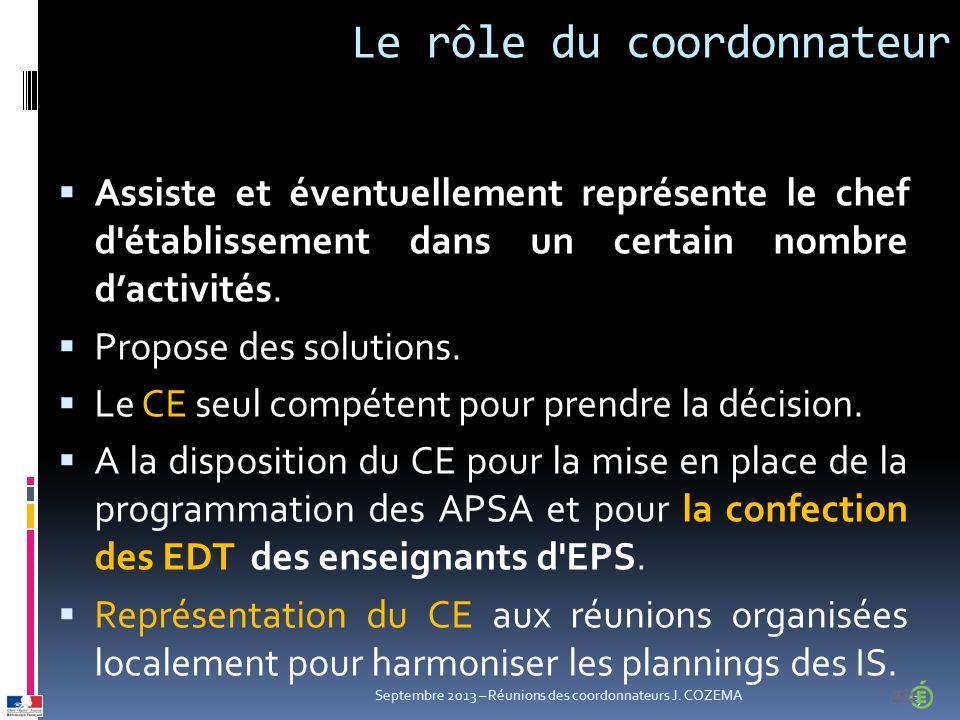 Le rôle du coordonnateur  Assiste et éventuellement représente le chef d établissement dans un certain nombre d'activités.