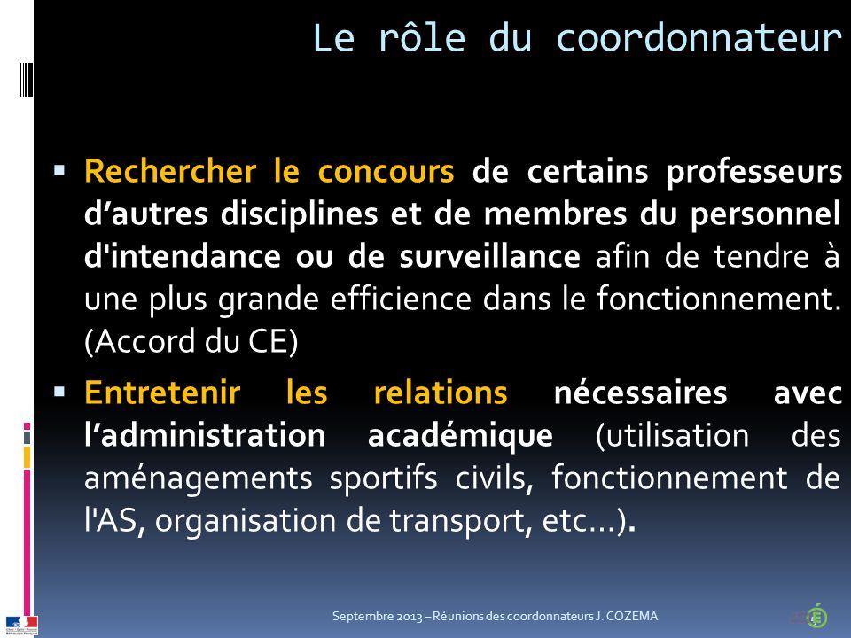 Le rôle du coordonnateur  Rechercher le concours de certains professeurs d'autres disciplines et de membres du personnel d intendance ou de surveillance afin de tendre à une plus grande efficience dans le fonctionnement.