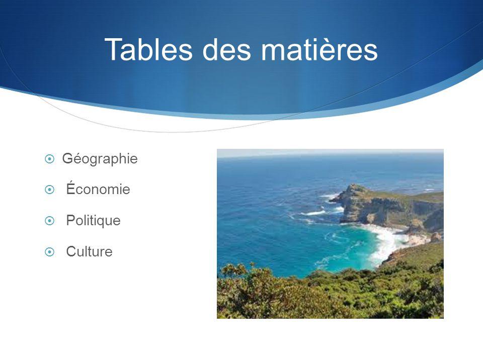 Tables des matières  Géographie  Économie  Politique  Culture