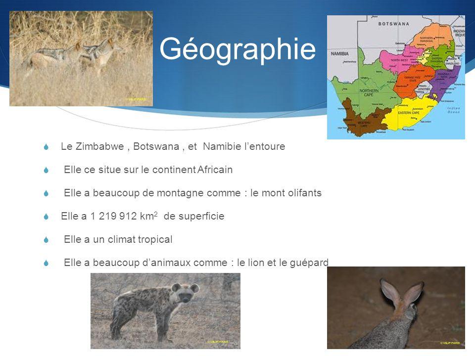 Géographie  Le Zimbabwe, Botswana, et Namibie l'entoure  Elle ce situe sur le continent Africain  Elle a beaucoup de montagne comme : le mont olifants  Elle a 1 219 912 km 2 de superficie  Elle a un climat tropical  Elle a beaucoup d'animaux comme : le lion et le guépard