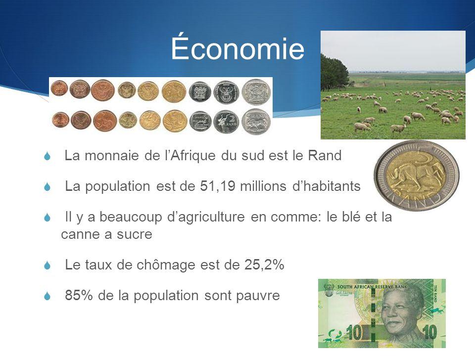 Économie  La monnaie de l'Afrique du sud est le Rand  La population est de 51,19 millions d'habitants  Il y a beaucoup d'agriculture en comme: le blé et la canne a sucre  Le taux de chômage est de 25,2%  85% de la population sont pauvre