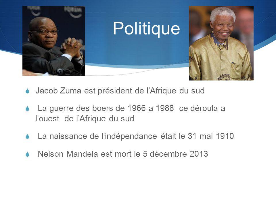Politique  Jacob Zuma est président de l'Afrique du sud  La guerre des boers de 1966 a 1988 ce déroula a l'ouest de l'Afrique du sud  La naissance de l'indépendance était le 31 mai 1910  Nelson Mandela est mort le 5 décembre 2013