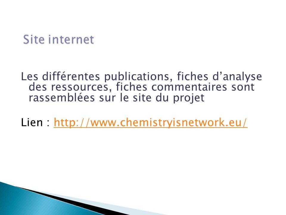 Les différentes publications, fiches d'analyse des ressources, fiches commentaires sont rassemblées sur le site du projet Lien : http://www.chemistryisnetwork.eu/http://www.chemistryisnetwork.eu/