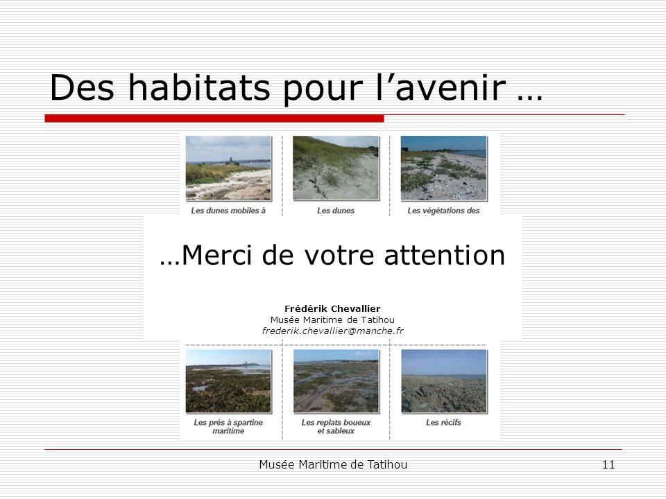 Musée Maritime de Tatihou11 Des habitats pour l'avenir … …Merci de votre attention Frédérik Chevallier Musée Maritime de Tatihou frederik.chevallier@manche.fr