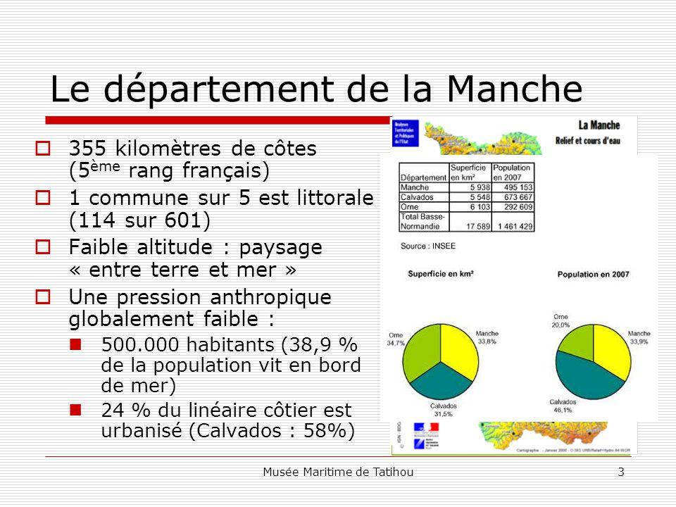 Musée Maritime de Tatihou3 Le département de la Manche  355 kilomètres de côtes (5 ème rang français)  1 commune sur 5 est littorale (114 sur 601)  Faible altitude : paysage « entre terre et mer »  Une pression anthropique globalement faible : 500.000 habitants (38,9 % de la population vit en bord de mer) 24 % du linéaire côtier est urbanisé (Calvados : 58%)