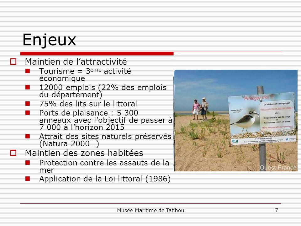 Musée Maritime de Tatihou7 Enjeux  Maintien de l'attractivité Tourisme = 3 ème activité économique 12000 emplois (22% des emplois du département) 75% des lits sur le littoral Ports de plaisance : 5 300 anneaux avec l'objectif de passer à 7 000 à l'horizon 2015 Attrait des sites naturels préservés (Natura 2000…)  Maintien des zones habitées Protection contre les assauts de la mer Application de la Loi littoral (1986)