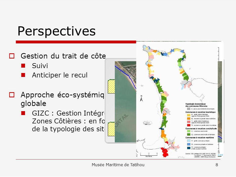 Musée Maritime de Tatihou8 Perspectives  Gestion du trait de côte Suivi Anticiper le recul  Approche éco-systémique globale GIZC : Gestion Intégrée des Zones Côtières : en fonction de la typologie des sites