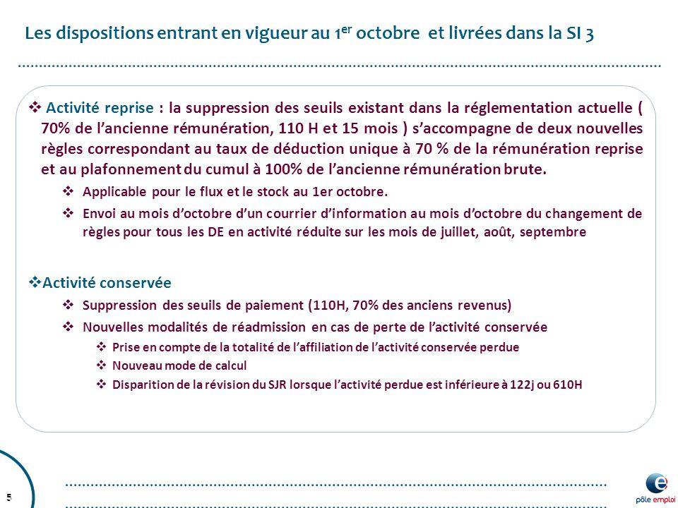 5 Les dispositions entrant en vigueur au 1 er octobre et livrées dans la SI 3 5.  Activité reprise : la suppression des seuils existant dans la régle