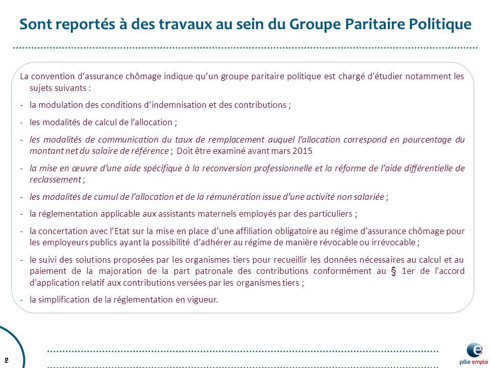 8 Sont reportés à des travaux au sein du Groupe Paritaire Politique 8 La convention d'assurance chômage indique qu'un groupe paritaire politique est c