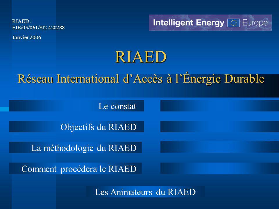 RIAED Réseau International d'Accès à l'Énergie Durable Le constat Objectifs du RIAED La méthodologie du RIAED Comment procédera le RIAED RIAED.