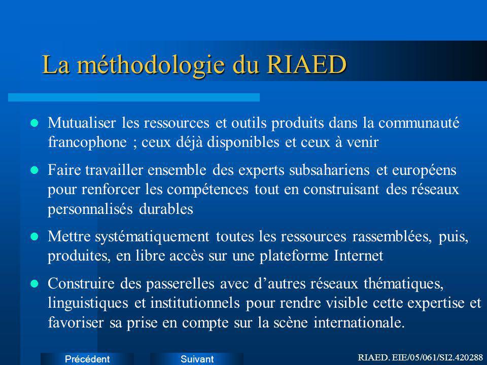 SuivantPrécédent Comment procèdera le RIAED .1/4 1.