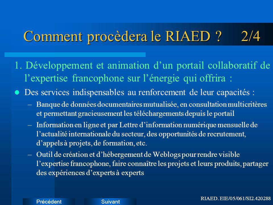 SuivantPrécédent Comment procèdera le RIAED .2/4 1.