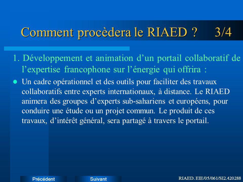 SuivantPrécédent Comment procèdera le RIAED .3/4 1.