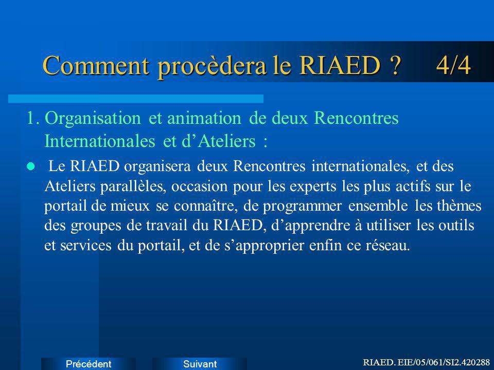 SuivantPrécédent Comment procèdera le RIAED .4/4 1.
