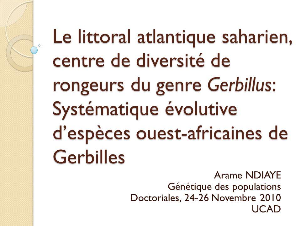 Le littoral atlantique saharien, centre de diversité de rongeurs du genre Gerbillus: Systématique évolutive d'espèces ouest-africaines de Gerbilles Ar